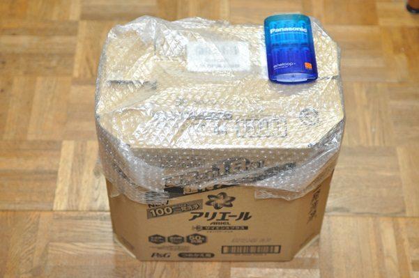 amazonで洗濯洗剤のアリエールを買う、初めてダンボールが裂けて届いた