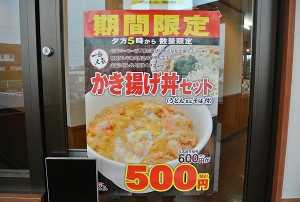 山田うどんに行ったらかき揚げ丼セットが期間限定の500円になっていた